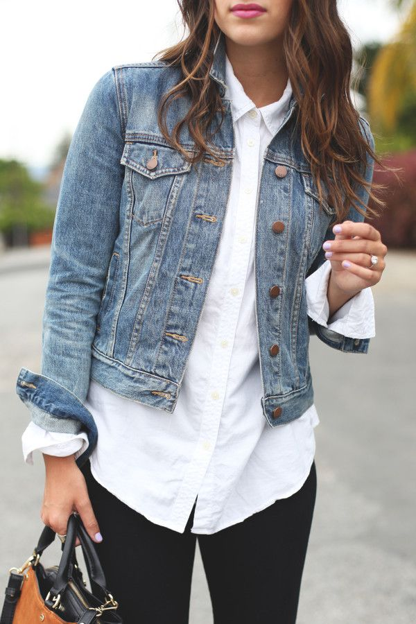 camasa alba cu jacheta de blugi